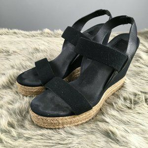 Tory Burch Two Band Canvas Wedge Espadrille Sandal
